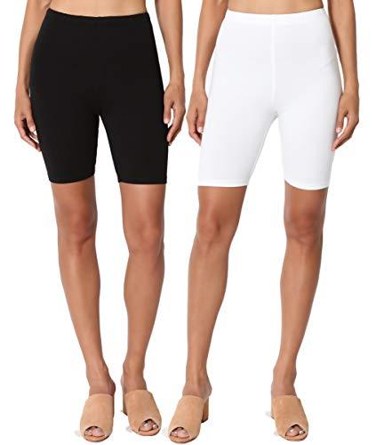 TheMogan Women's Mid Thigh High Waist Cotton Jersey Short Leggings BLK/WHT L ()
