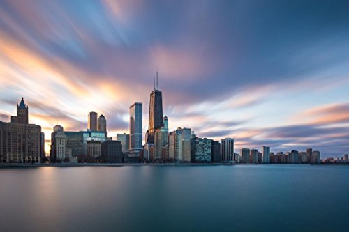 Chicago Illinois Skyline from Lake Michigan Photo Art Print Mural Giant Poster 54x36 inch