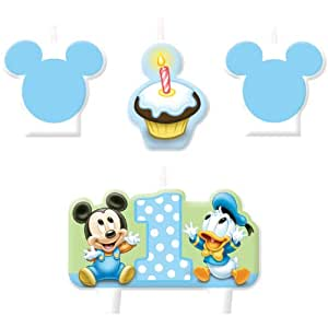 Amazon.com: Bebé Mickey Mouse 1st cumpleaños Mini moldeados ...