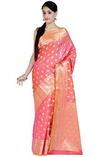 Chandrakala Women's Peach Kataan Silk Banarasi (Pink Saree)