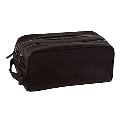 Image of Genuine Leather Travel Toiletry Organizer with Handle and Zipper Closure, Brown