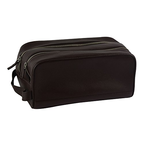 Genuine Leather Travel Toiletry Organizer with Handle and Zipper Closure, Brown by Rembrandt Home