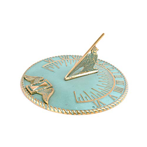 Sundial Verdigris Solid Brass Garden Clock 9 3/4'' | Renovator's Supply