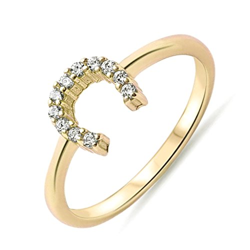 Cowgirl Horse Shoe Clear Cubic Zirconia Yellow Gold Plated Sterling Silver Ring Band Size 7