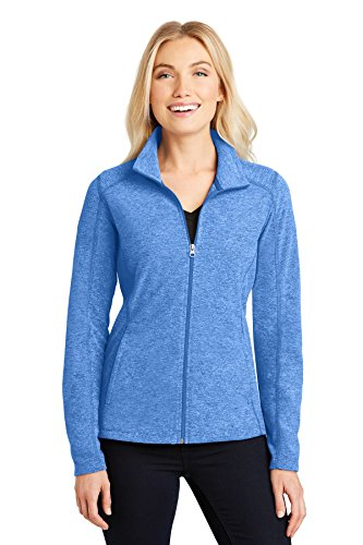 Ladies Full Zip Microfleece Jacket (Port Authority Ladies Heather Microfleece Full-Zip Jacket. L235 Light Royal Heather S)