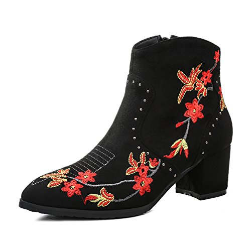 Ethnic Thick Martin Vintage Boots Booties Style Heels Women's High Boots Casual Boots Black New Velvet with Xq8fxO