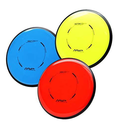 MVP Disc Golf Neutron Power Straight Set: Ion, Vector, Volt 170-179 Gram (Colors May Vary) Great for Beginners by MVP Disc Golf