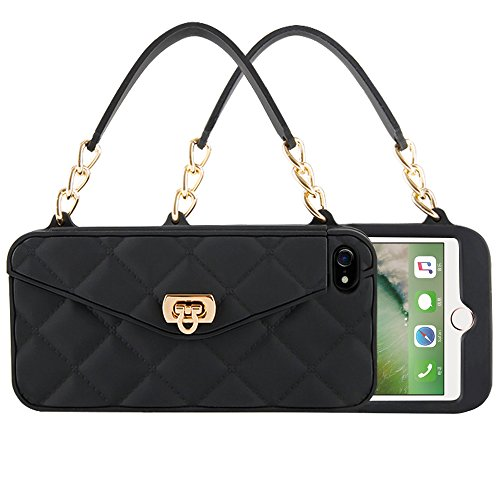 iPhone 7 & 8 & 6 & 6s Wallet Case for Women Design with Card Holder Purse Protective Cover Rubber Silicone Bumper Shockproof and Drop Proof Handbag (Black, - Embossed Cross Pearl