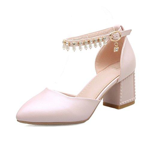 Moda Sandalias De Baotou Rosa,Con Gruesas Con Diamantes De Imitación En Una Banda De Tacones Rosa
