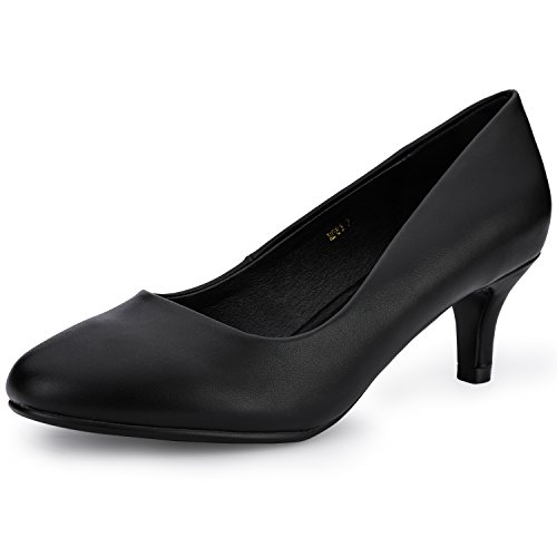 IDIFU Women's Classic Low Heels Dress Pumps 2 Inch Kitten Heel Round Toe Office Wedding Shoes