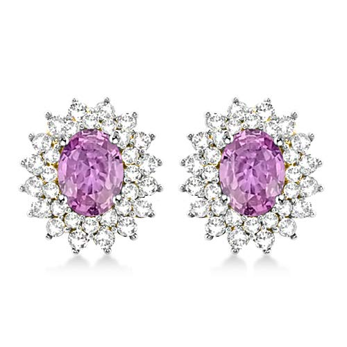 Sapphire Pink Oval Earrings (Diamond Scotch Jewelry Women 5.68 Ct Oval Shape Simulated Pink Sapphire Starburst Cluster Stud Earrings for Women Girls 14k Yellow Gold Plated)