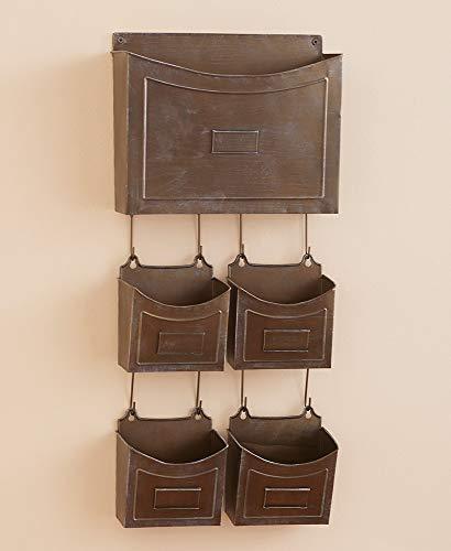 5-Pc. Rustic Metal Wall Organizers Choice of Aqua Silver or Bronze Craft Office (Bronze) Dark Rustic Bronze Metal