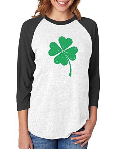 Tstars Clover - ST Patrick's Day Irish Shamrock 3/4 Women Sleeve Baseball Jersey Shirt X-Large Black/White