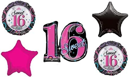Amazon LoonBalloon SWEET 16 16th Sixteen Black Hot Pink