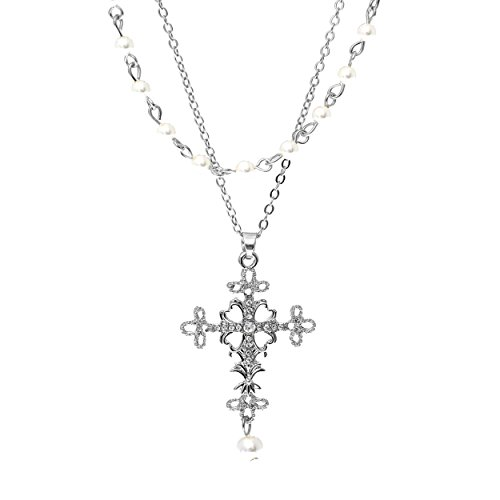 (Rosemarie Collections Women's Double Layer Filigree Cross Pendant Necklace with Faux Pearls (Silver Tone))