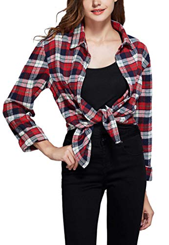 (GUANYY Women's Long Sleeve Casual Loose Classic Plaid Button Down)