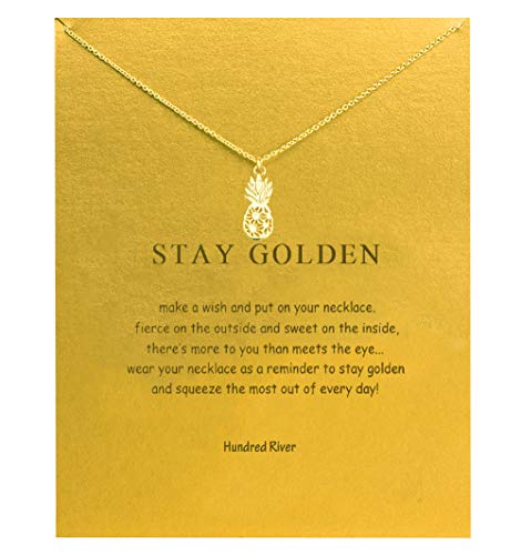Hundred River Pineapple Necklace with Message Card Gift Card(Pineapple)