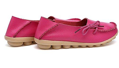 Lonsoen Dames Mocassin Raceschoenen Casual Massief Leren Loafer En Slip Op Boot Flats Hot Pink