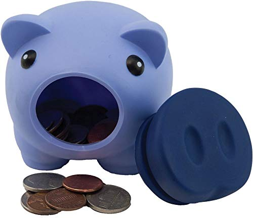 Alpen Glow Products Piggy Banks (Coin Holder) (Plastic Pigs for Storing Money, Coins, Miz)(Multiple Colors)(3 Pigs Per Pack)(Purple, Green, Blue) ()