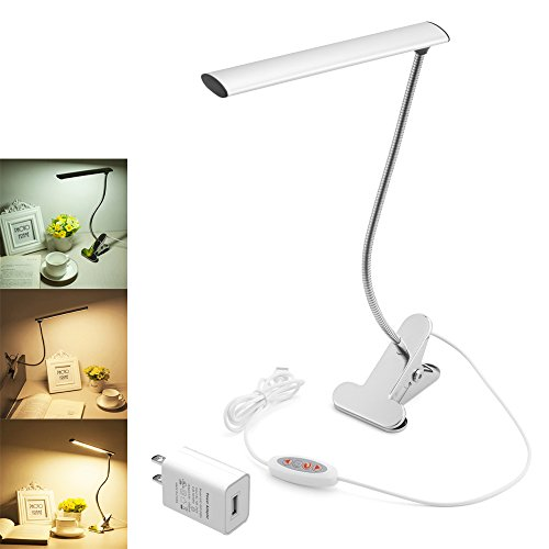 WOERFU Desk Lamp with Clamp Dimmable LED Bedsid Reading Lamp 10-Level Dimmer with 3 Lighting Modes Small LED Clip Table Lamp