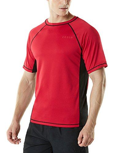 TM-MSS01-RDK_X-Large Tesla Men's UPF 50+Swim Shirt Loose-Fit Swim Tee Rashguard