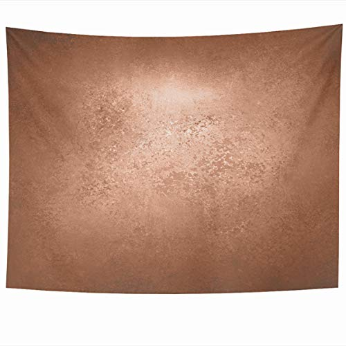 Ahawoso Tapestry Wall Hanging 80x60 Inches Wall Brown Foil Abstract Copper Reddish Gold Label Luxury Orange Border Bronze Shiny Color Sienna Home Decor Tapestries Art for Living Room Bedroom Dorm ()