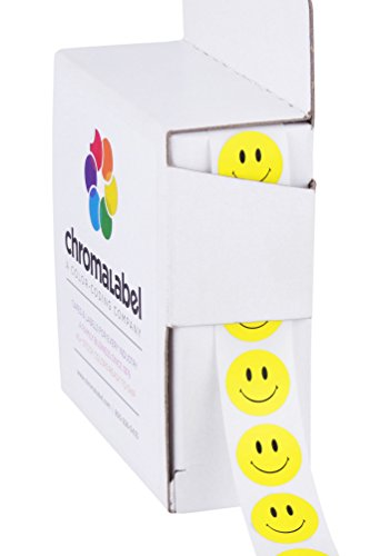 Face Smile Smiley - ChromaLabel Smiley Face Stickers | 1,000/Dispenser Box (1/2 inch)