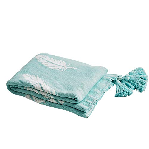 MOFEEL 100% Cotton Feather Pattern Throw Blanket is Soft and Comfortable,Suitable for Bed Or Sofa Decorative Blanket Pure Cotton Décor ()