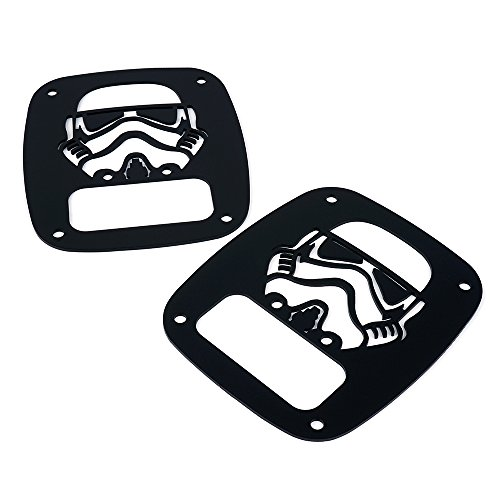 """Xprite Matte Series Sombre Rear Tailight (Tail Light) Protector Cover Guards """" Stormtrooper """" for Jeep Wrangler TJ LJ 1985 - 2006"""