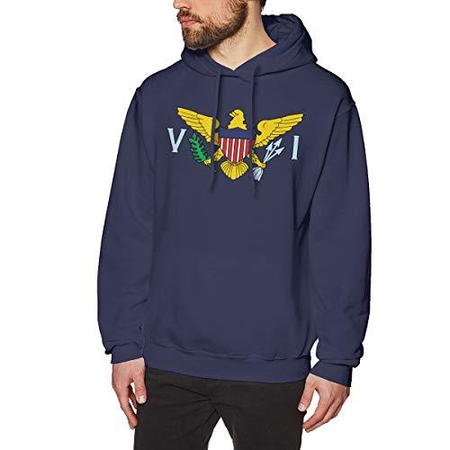 AaAarr Men's United States Virgin Islands Flag Long Sleeve Hooded Sweatshirt Navy L -