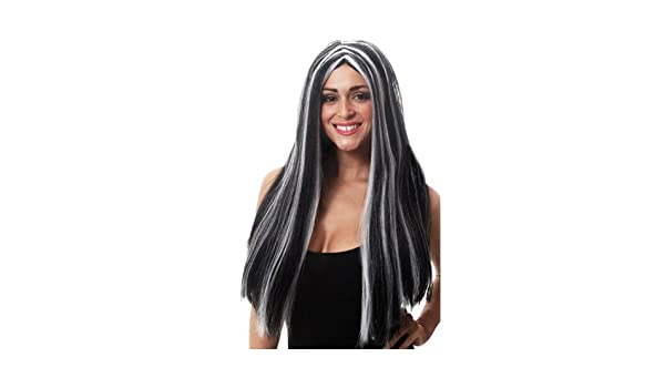 Halloween 65cm Long Black & White Morticia wig (peluca): Amazon.es: Juguetes y juegos