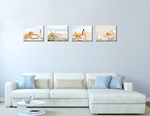 VVOVV Wall Decor - Modern Seascape Wall Art Canvas Prints Starfish and Seashells on Sand Beach Pictures Artwork Tropical Beach Summer Resort Painting Home Decor for Bedroom