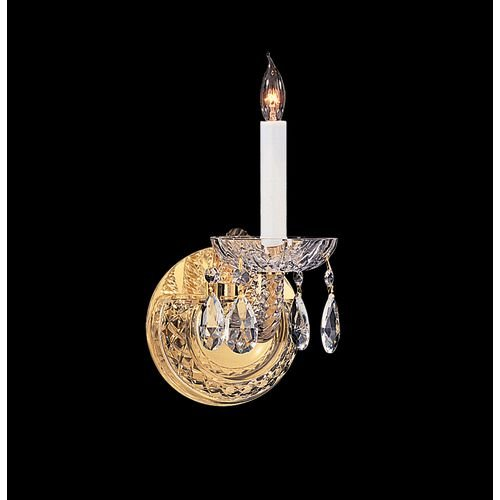Bohemian Crystal 1 Light Candle Wall Sconce Finish: Polished Brass, Crystal Type: Majestic Wood Polished ()