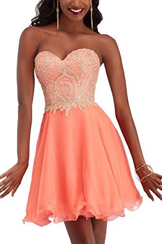 Orange Homecoming Dresses (Manfei Short Prom Dress Bridesmaid Party Gowns Gold Appliques Peach Size 6)