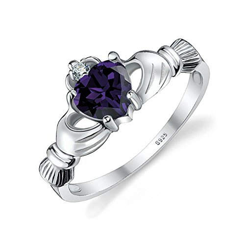 Jewelrypalace 925 Sterling Silver 0.6ct Alexandrite sapphire Claddagh Ring CZ Size 10