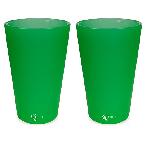 Silipint Silicone Pint Glass Set, Patented, BPA-Free, Shatter-proof, Unbreakable Silicone Cup Drinkware (2-Pack, Emerald)