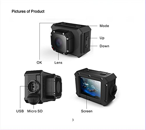 ZxlightSports Camera, 2.0 Inch 170 Degree Ultra-wide Angle Lens Full HD 4K 12MP 98-Feet(30-meter) Waterproof Sports Diving Camera WiFi Remote Control Helmet Action Camera with Battery