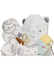 Newborn unisex 100% organic baby basket gift set 6 pieces clothing set, organic towel, 3 pieces BPA-free brush comb set, honeycomb organic sponge, Hypoallergenic breathable comfort value bundle basket gift box for baby boy and baby girl with free greeting card all in one economical package