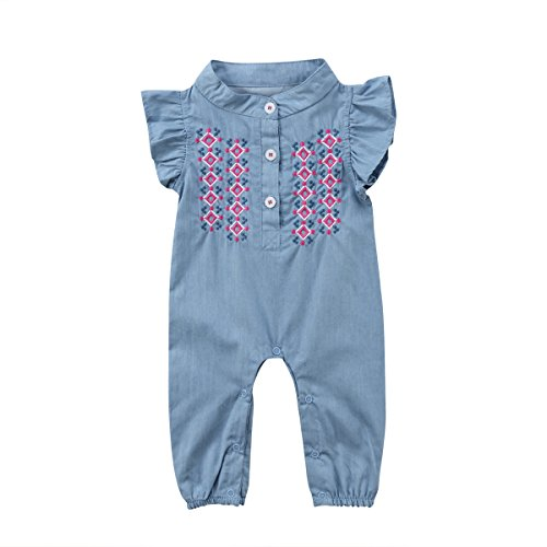 Imcute Baby Girls Denim Outfit Short Sleeve Embroidered Rompers Jumpsuit Bodysuit (18-24 Months, A) (Baby Girl Embroidered Denim)