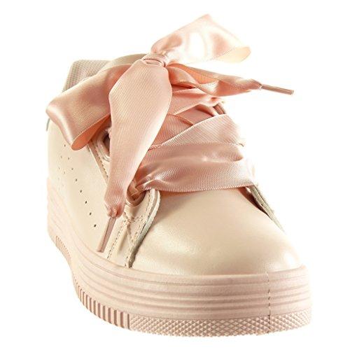 Angkorly - damen Schuhe Sneaker - Plateauschuhe - Schnürsenkel aus Satin - glänzende - Perforiert flache Ferse 3.5 CM - Rosa 2017-06 T 38