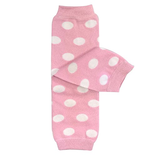 Bowbear Baby Polka Dot and Solid Color Leg Warmers, Light Pink and White Dots