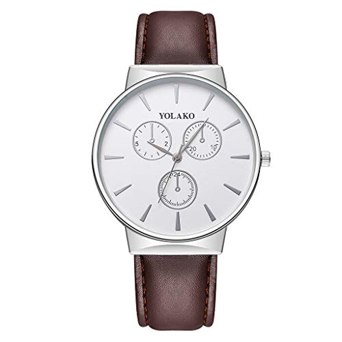 (Flurries Delicate Leather Watch Men's Casual Quartz Leather Band Strap Watch Analog Wrist Watch (B))