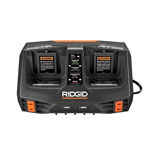 Ridgid AC840094 Gen5X Dual Port 18V Lithium Ion and NiCad Battery Charger with Pass-Through AC Ports and USB Charging (Batteries Not Included, Charger Only) (Ridgid Battery Charger)