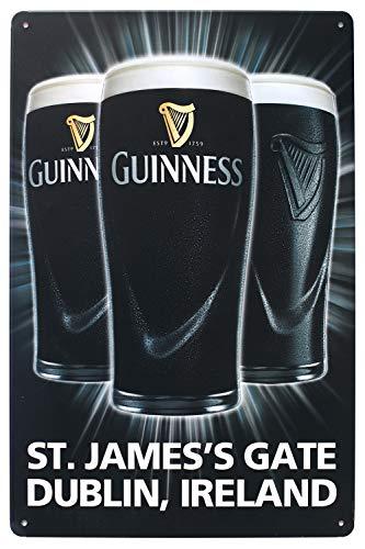 (Guinness St. James's Gate Dublin, Ireland, Metal Tin Sign, Vintage Style Wall Ornament Coffee & Bar Decor, Size 8