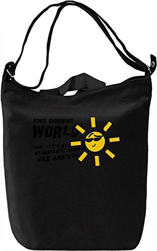 Good morning world Borsa Giornaliera Canvas Canvas Day Bag| 100% Premium Cotton Canvas| DTG Printing|