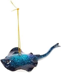COCO Polished Blue Stingray Ornament, Marine Sea Life Nautical Ocean Coastal Decor