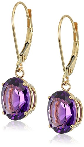 14K Gold Oval Gemstone Dangle Leverback (14k Amethyst Dangle Earrings)
