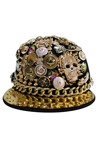 HAOCOS Unisex Pointed Rivets Sequin Hip Hop Hat Street Punk Adjustable Baseball Cap,Style2 -