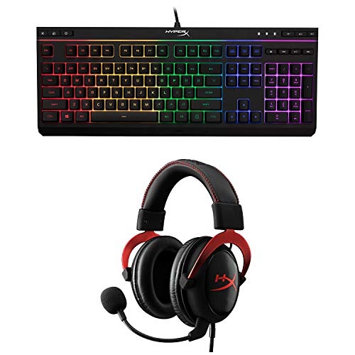 HyperX Cloud II Gaming Headset - 7.1 Surround Sound- Red (KHX-HSCP-RD) with HyperX Alloy Core RGBMembrane Gaming Keyboard Comfortable Black - Bundle