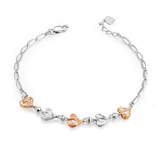 MaBelle - Cœur Coupe Diamant Bracelet Femmes Deux Couleur Rose Or Blanc 585/1000 (14 carats) - 17.5 cm